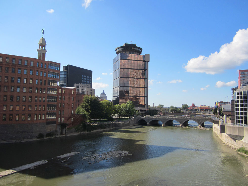 Downtown Rochester, Genesee River, and the Mercury statue. [PHOTO: Ryan Green]