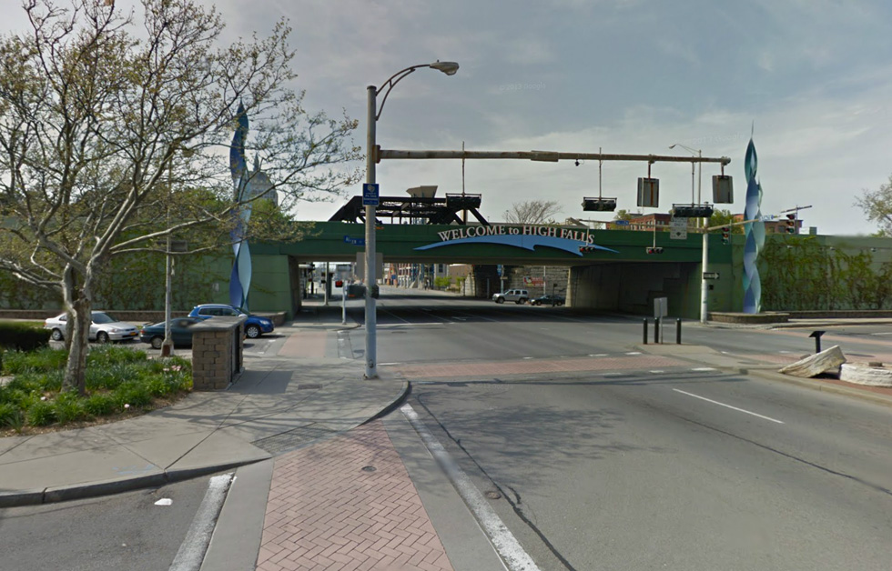 Be cautious crossing under these bridges. Drivers are not looking for cyclists. [IMAGE: Google Streetview]