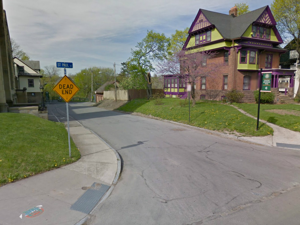 Turn left off of Saint Paul to follow the Genesee Riverway Trail. [IMAGE: Google Streetview]