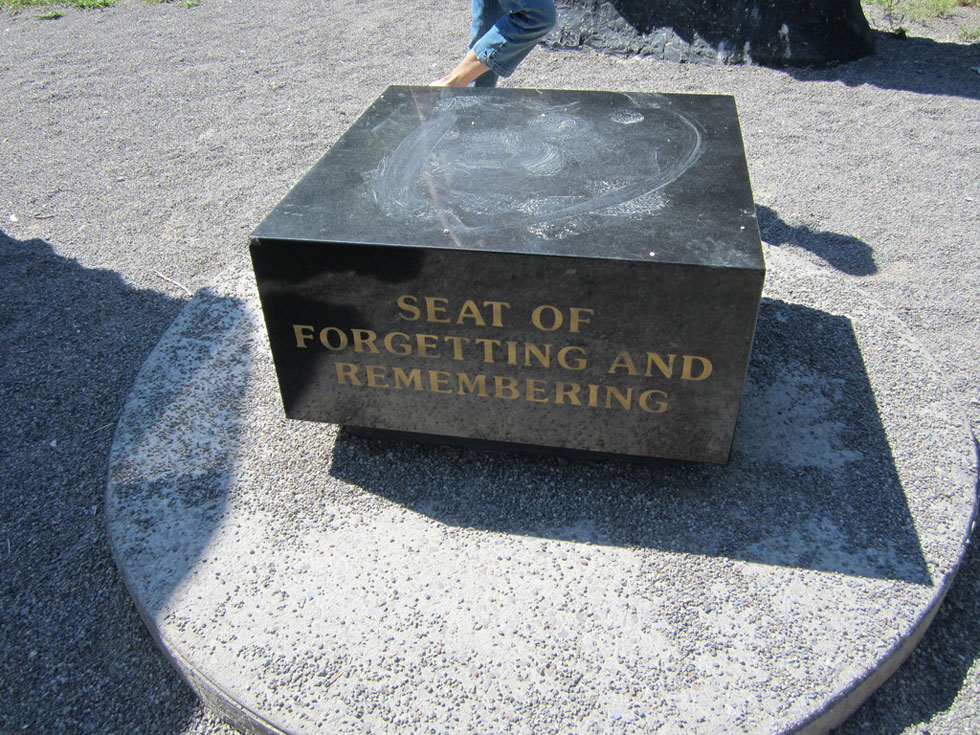 Lower Falls monument. Seat of Forgetting and Remembering. [PHOTO: Ryan Green]