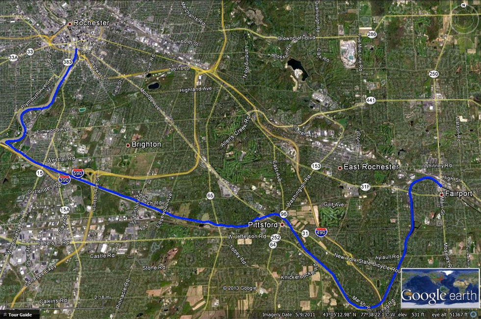 The route from downtown Rochester to Fairport. 17 miles one way. Slightly downhill. No roads to cross.  [IMAGE: Google Earth]