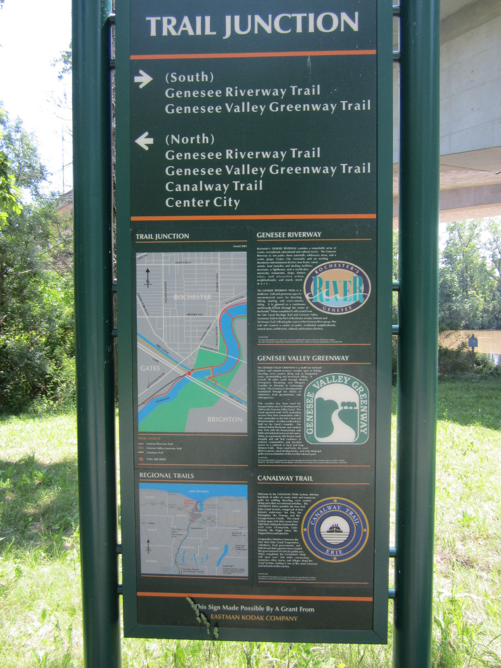 Looking back, we see a sign indicating the Riverway, Greenway, and Canalway Trails.  [PHOTO: Ryan Green]