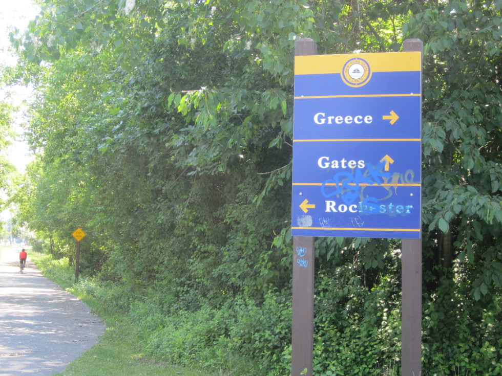We reach a nice little area near the Gates/Greece border with benches and historical signage.  [PHOTO: Ryan Green]