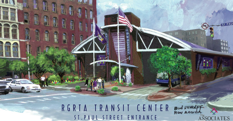 Proposed transit center looking northeast along Saint Paul Street.