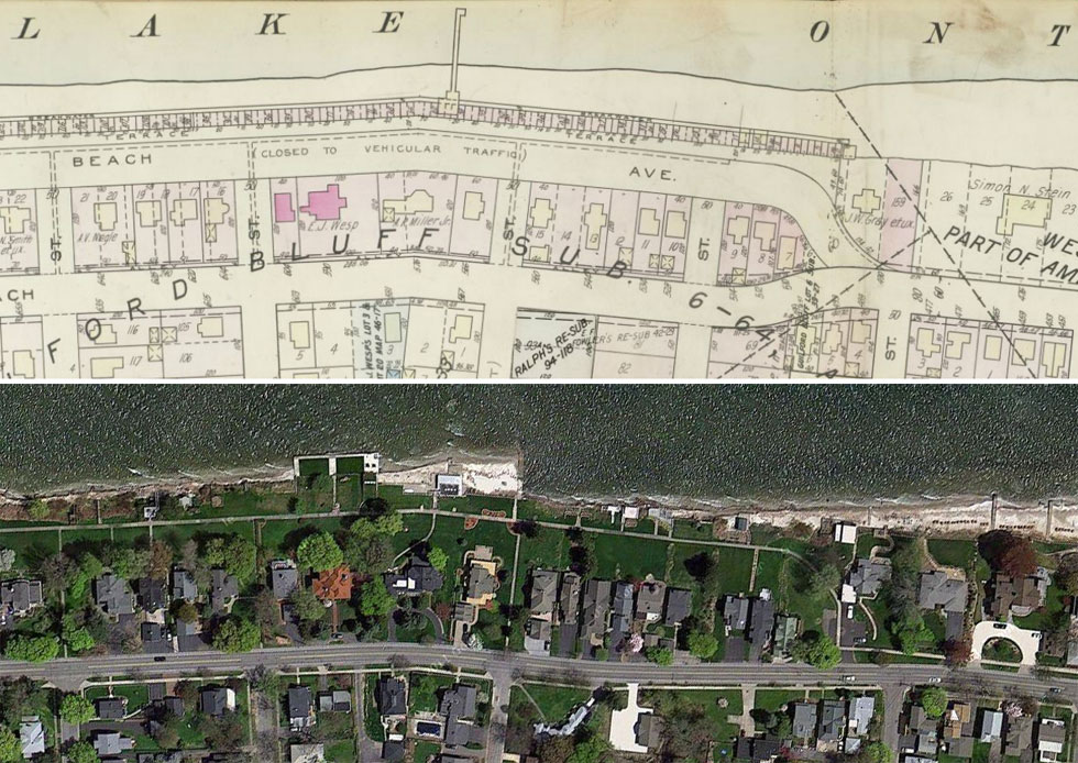 A plat map of Beach Avenue Historic District, 1936 (top) and what it looks like today, 2012 (bottom). The street has been replaced with lawns and gardens but the sidewalk remains. Looks like there's a bit less beach today, and a missing pier as well.