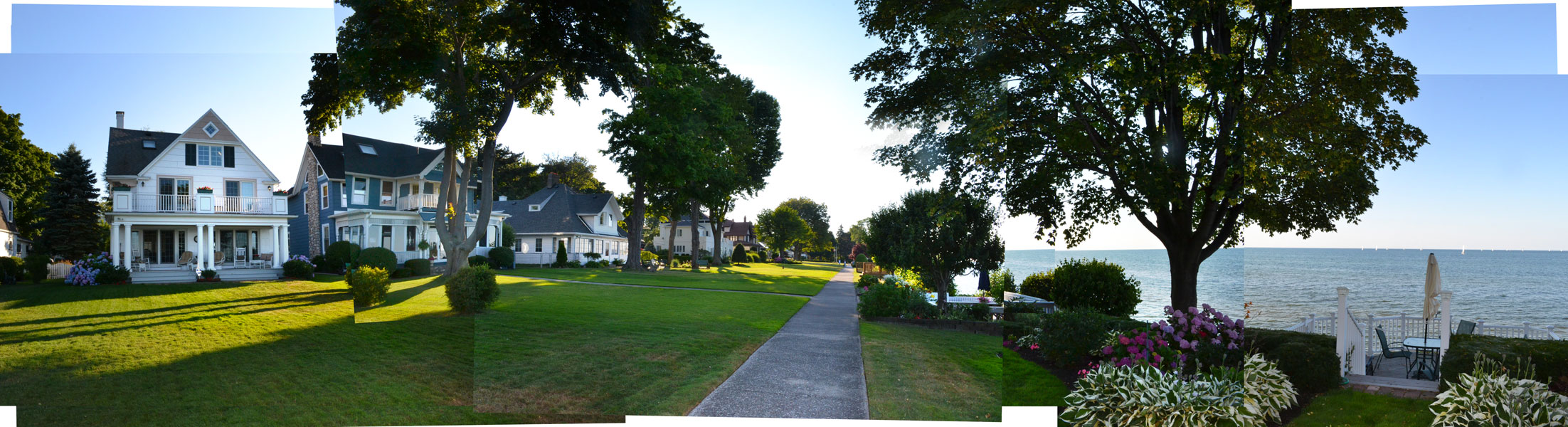 A panorama of Rochester's Beach Avenue Historic District along the shores of Lake Ontario.