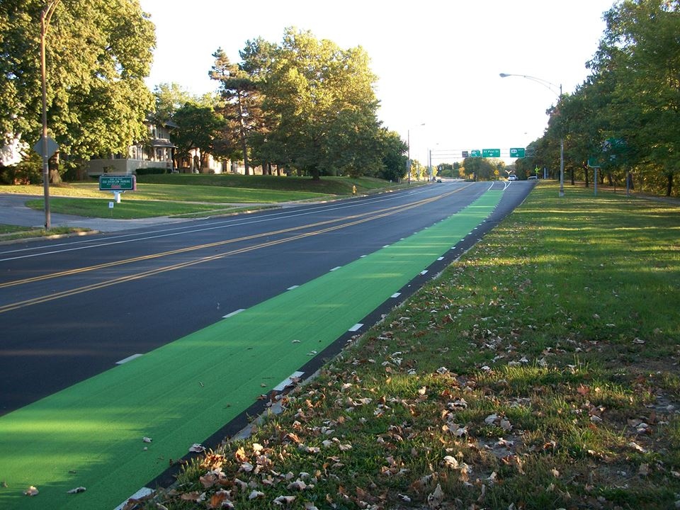 Many effective safety measures are low-cost, such as re-striping vehicle lanes to accommodate bicycles or repainting crosswalks so they are more visible. [PHOTO: ReconnectRochester.org]