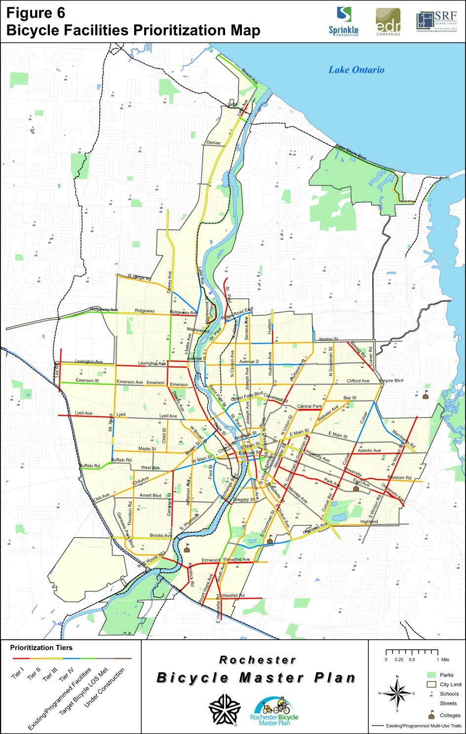 Rochester Bicycle Facilities Prioritization Map