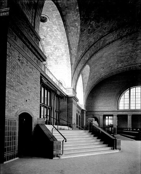 The interior of Rochester's missing rail station. The main waiting room with high arching windows and ornate ceiling would rival New York's Grand Central Station if it were around today.
