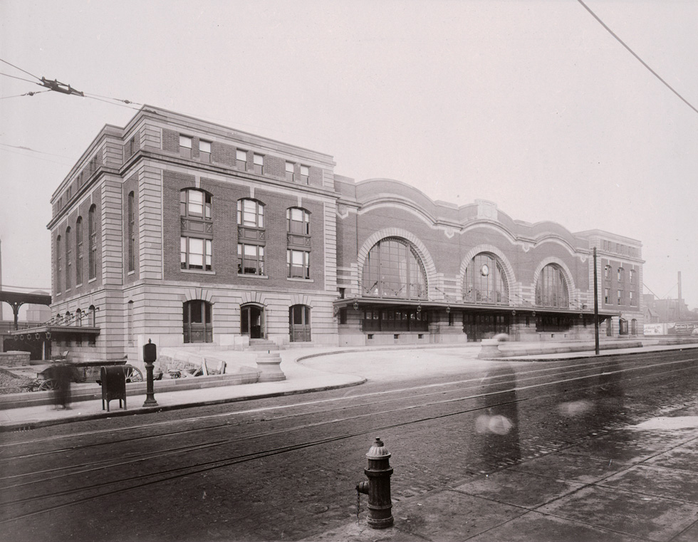 Exterior of Rochester's demolished New York Central Railroad Station designed by Claude Bragdon.