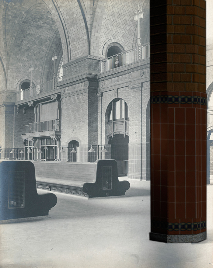 A digital rendering showing a column and part of the waiting area inside the Bragdon station.