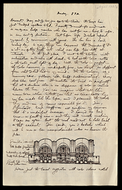 A handwritten letter and drawing by Claude Bragdon.