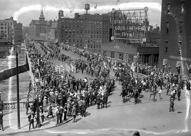 This is the grand opening of the new 'subway street' (Broad Street bridge). [Image from Albert R. Stone collection]
