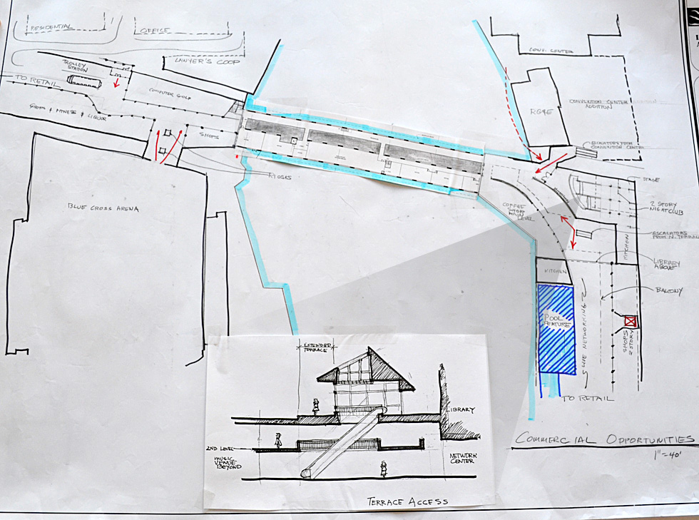 There'd be several access points into the space at either end of the bridge. A multi-level music venue or night club would be located on the east end of the bridge. And a rubber-tired trolley would be employed to connect the project with other downtown destinations and parking facilities. [Drawings courtesy of Broad Street Underground]