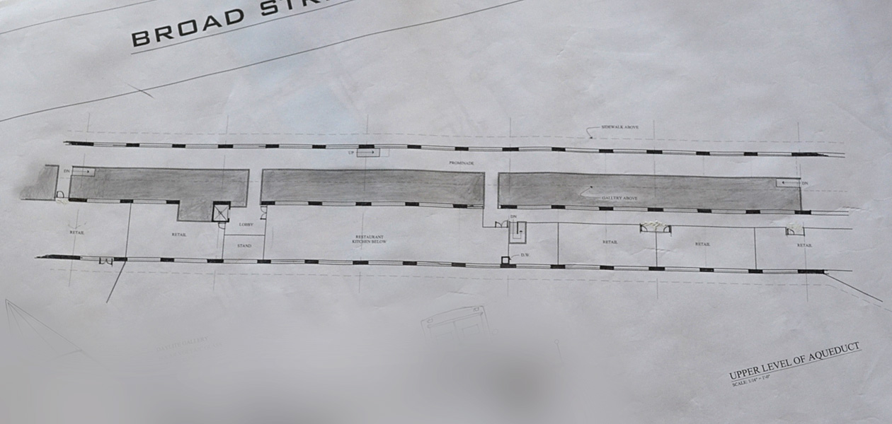 Here's a plan view of the Broad Street bridge with shops and pedestrian walkway inside. [Drawings courtesy of Broad Street Underground]