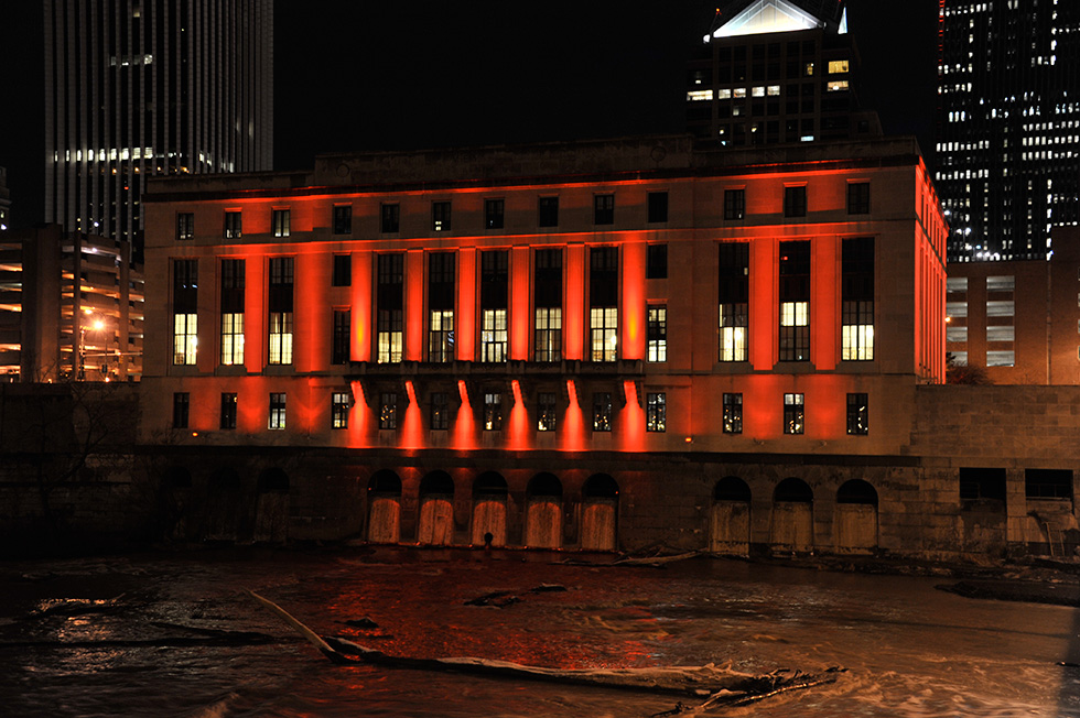 Rochester buildings were illuminated in red yesterday for National Wear Red Day, an event to raise awareness about heart disease & stroke for the American Heart Association. [Image: Kathy Oehling Photography]