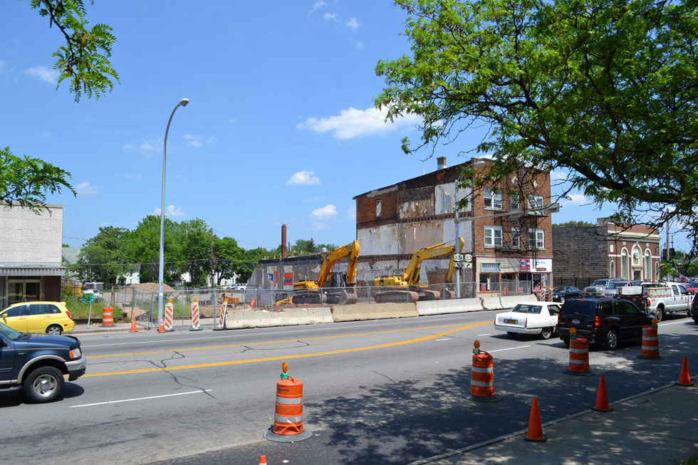 The City was demolishing two adjacent buildings in the row when a third building was also determined to be unstable. [PHOTO: RochesterSubway.com]