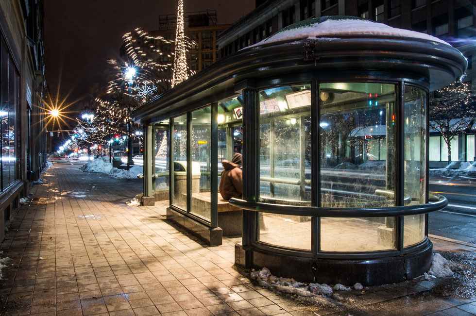 Rochester's cool retro-style bus shelters will be history by this time next year unless someone steps forward to claim them. [PHOTO: RocPX.com]