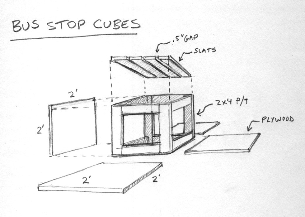 We put pencil to paper and designed a simple 2'x2'x2' cube to fit easily within areas where space is at a premium.