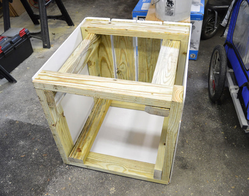 Our prototype was constructed using pressure-treated lumber and decking materials at a cost of less than $40 per cube.