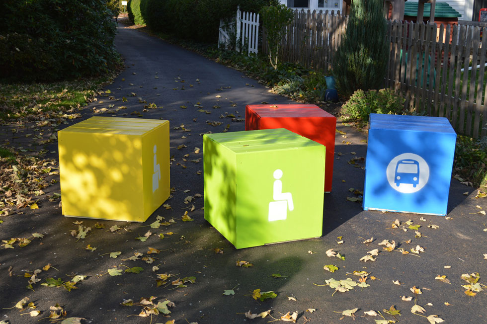 Our bus stop CUBE seat was inspired by ordinary children's blocks.