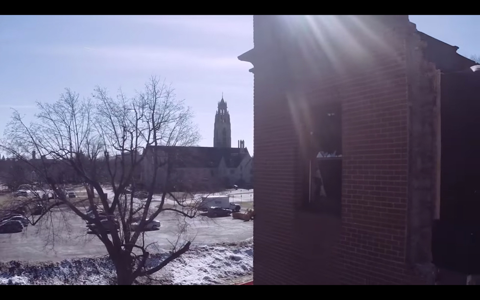 Aerial drone footage of Rochester; the subway and Carnegie Place after fire. [IMAGE: Ander Kazmerski]