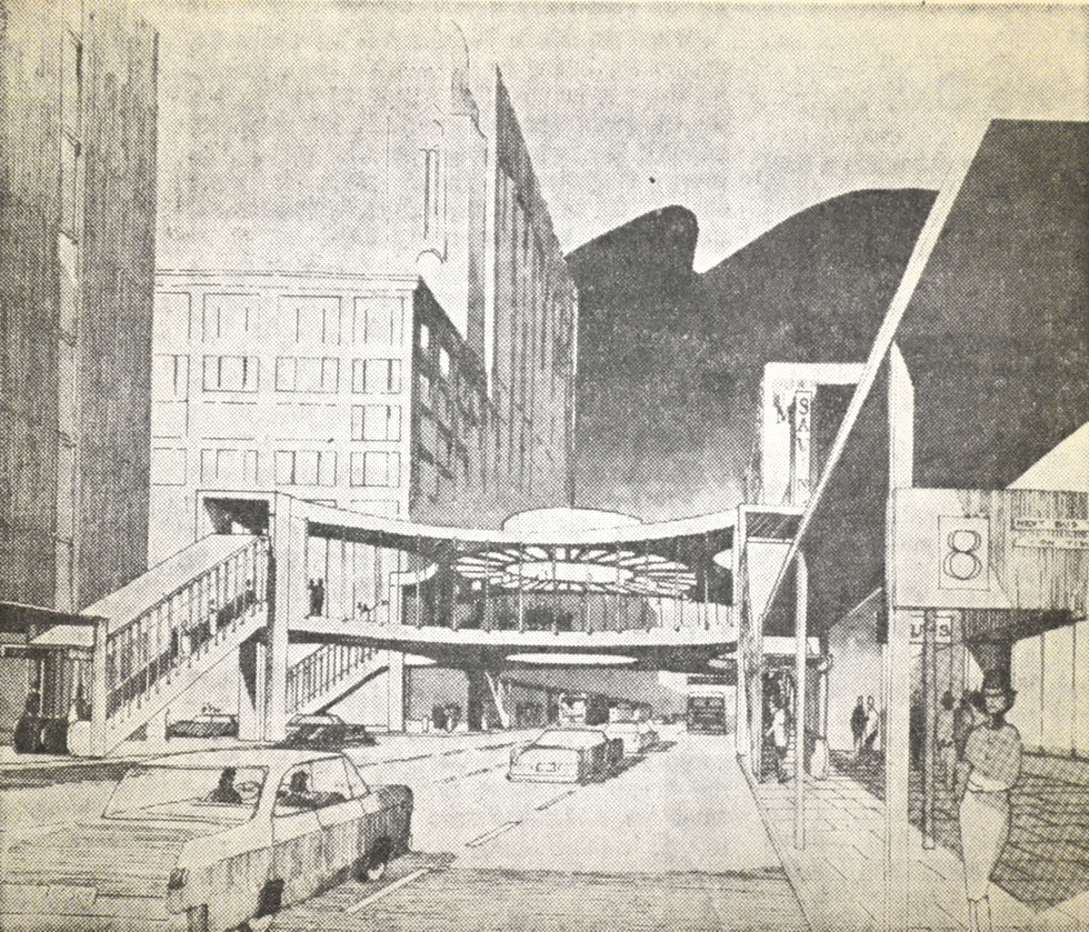 A concept by RTC president William Lang for a central transit terminal at Main & Clinton, Rochester NY. [IMAGE: Democrat & Chronicle, January 29, 1967]