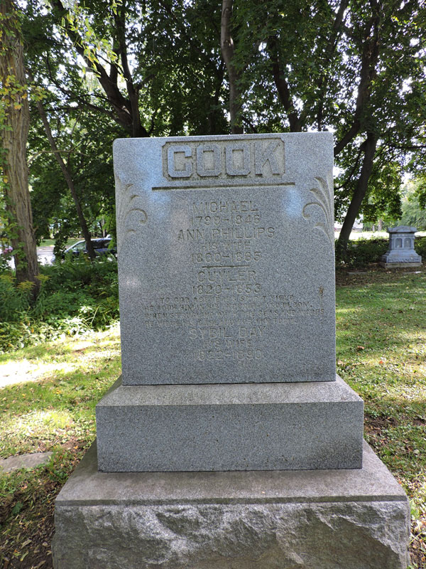 The grave of then retired lighthouse keeper Cuyler Cook, who died during a storm in 1853. Inscribed in his grave: 'To God above his spirit yield -- He took him in his strength and bloom -- When struggling with the seas and waves -- He wove his garland for the tomb' [PHOTO: Joanne Brokaw]