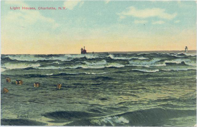 Postcard of the twin lighthouses. [IMAGE: Rochester Public Library Local History Division]