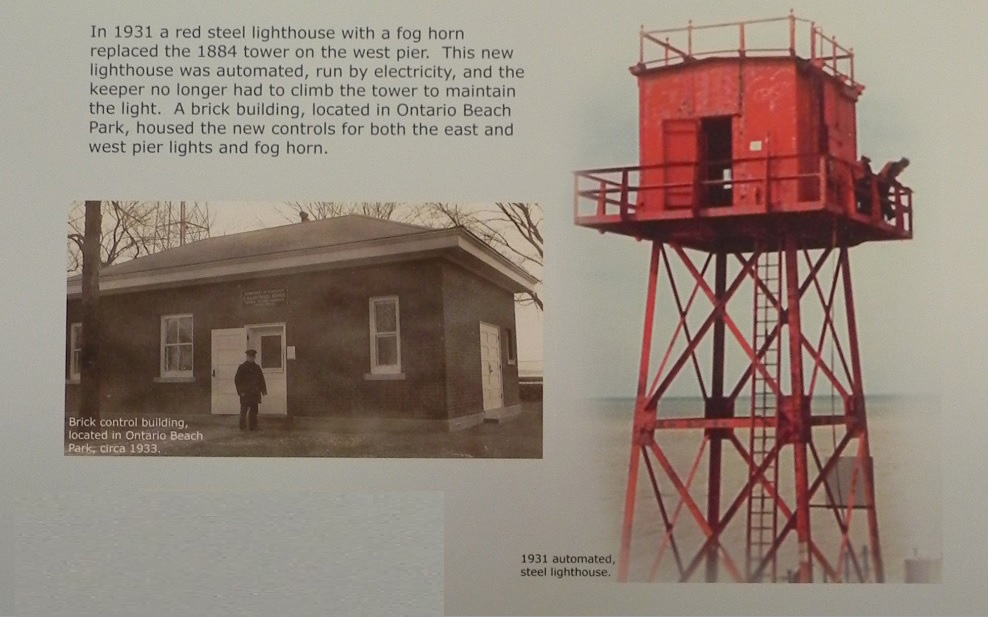 Brick control building, and automated, steel lighthouse. [IMAGE: Charlotte Lighthouse Museum]