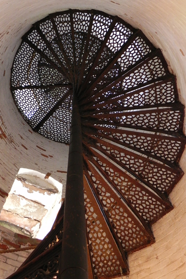 The requisite photo of the spiral staircase inside the lighthouse. [PHOTO: Joanne Brokaw]