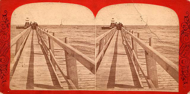 A stereoscope image of the wooden pier, 1880. [PHOTO: Rochester Public Library Local History Division]