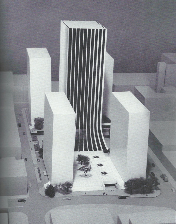 The Lincoln First Tower, now called Chase Tower was completed in the summer of 1972 at a cost of $20 million.  It is 398 feet tall. [Looking North. Stone St. is on the left, and Broad St. on the bottom]