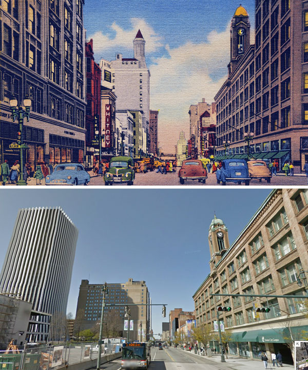 The Lincoln Alliance Building can be seen in the background, before and after having its spire removed.