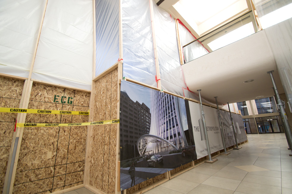 The lobby is currently partitioned off while workers remove part of the original escalator system to create a much more open space. [PHOTO: RochesterSubway.com]
