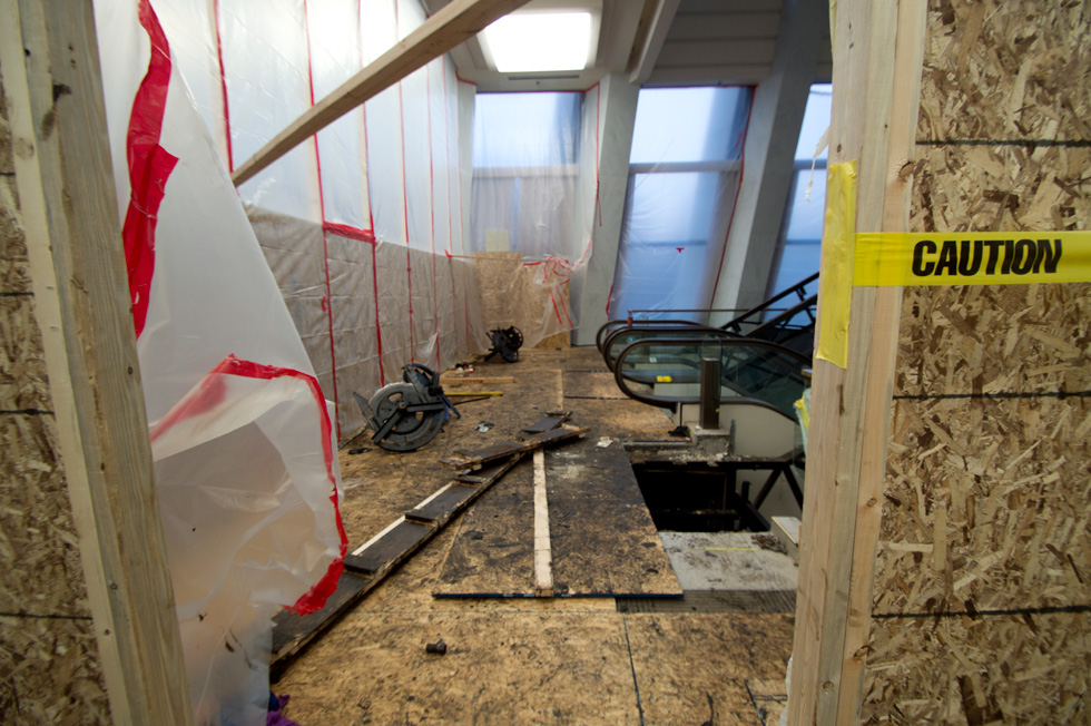 While we were visiting the train display, we caught a peek at the work in progress. [PHOTO: RochesterSubway.com]