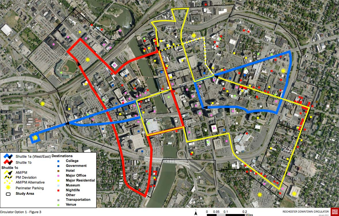 ROCHESTER CIRCULATOR OPTION 1: This option provides the most coverage, connecting popular locations and parking facilities. But it's complex; requiring three separate routes. And it's the most expensive; requiring five buses to keep headways short.