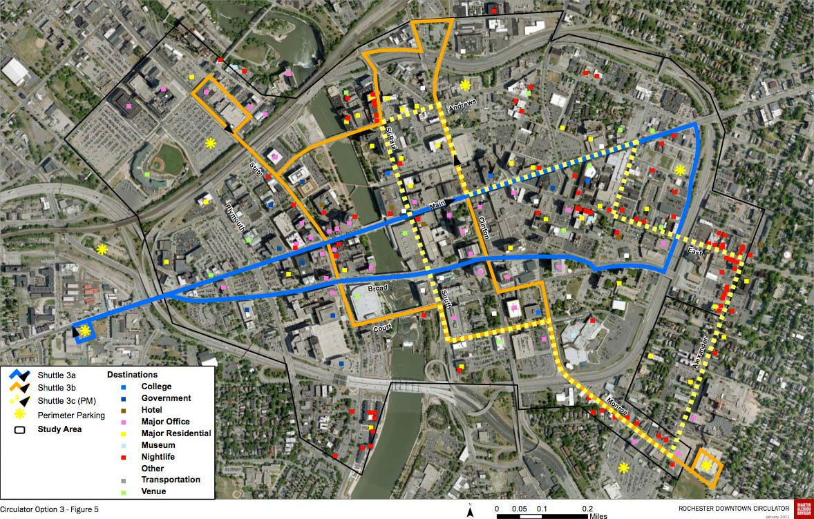 ROCHESTER CIRCULATOR OPTION 3: Two lines that provide good east-west coverage along Main Street, and north-south coverage along State Street, Clinton Avenue and Monroe Avenue. These routes could convert into a nice starter streetcar line. This option would cost the same as option 2.