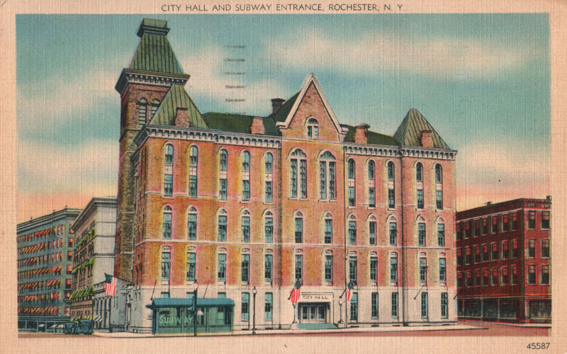 Post a photo of your favorite Rochester eyesore to www.Facebook.com/RocSubway. You could win a 16x10 reprint of this vintage postcard depicting Rochester City Hall and the subway entrance (c.1930).