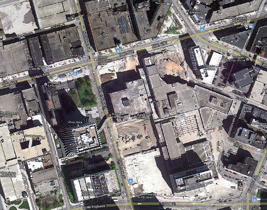 The Midtown Plaza crater. Former site of Seneca Hotel. [PHOTO: Google Maps]