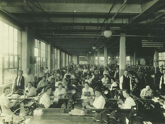 Possibly the interior of Adler Bros. or Michael-Stern clothing factory. c.1918. [PHOTO: Rochester Public Library]