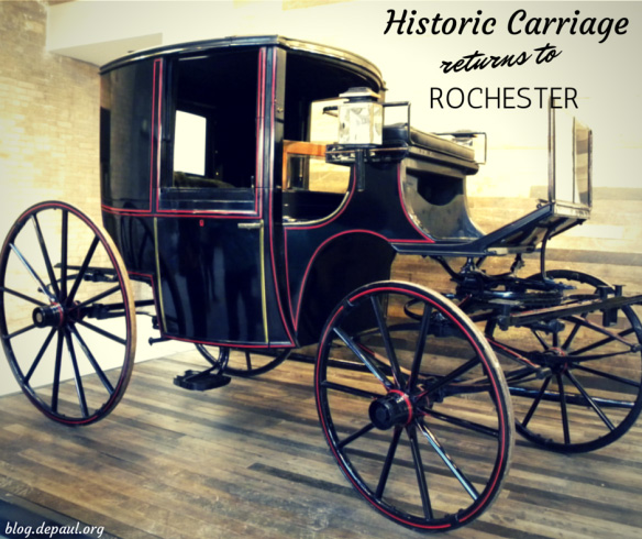After more than 140 years after leaving the Cunningham Carriage Factory on Litchfield Street in Rochester NY, a late-19th century brougham-style carriage returned home on Tuesday, September 30.