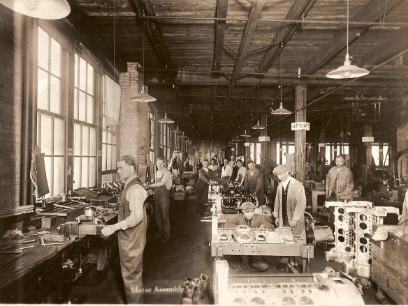 Motor assembly at the Cunningham Carriage Factory circa 1920. [PHOTO: From the families of Peter, Joan and Michael Cunningham]