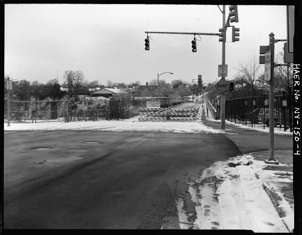 Looking west towards Driving Park Bridge (AVENUE E) spanning Genesee River gorge, Rochester, NY.