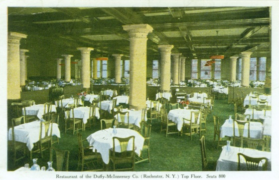 800 seat restaurant on the top floor of the Duffy-McInnerney Co. Building, Rochester, NY. [SOURCE: www.VintageViews.org]