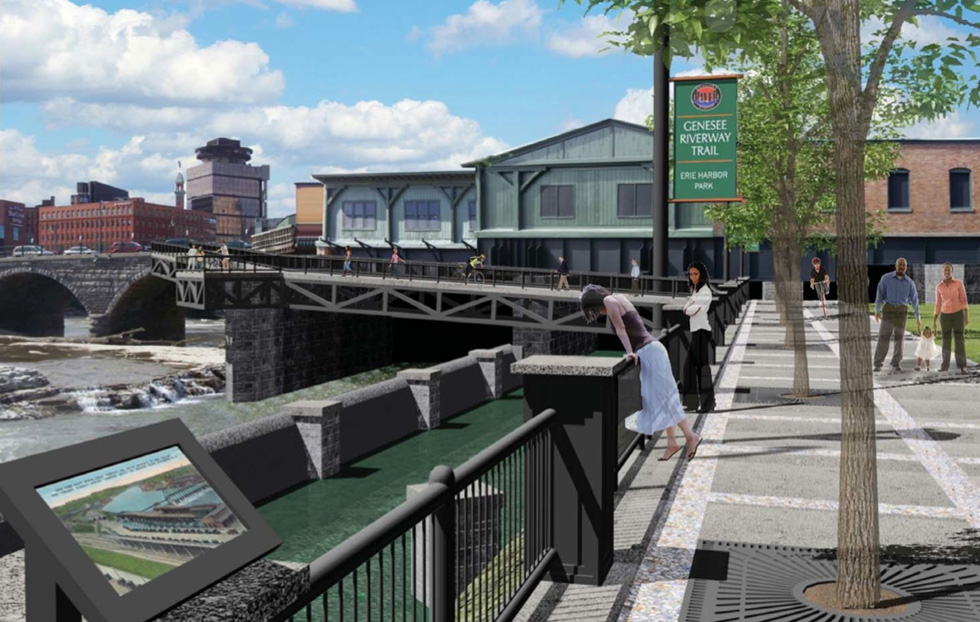 Proposed Erie Harbor Promenade connecting the Genesee Riverway Trail with Court Street. [IMAGE: City of Rochester]
