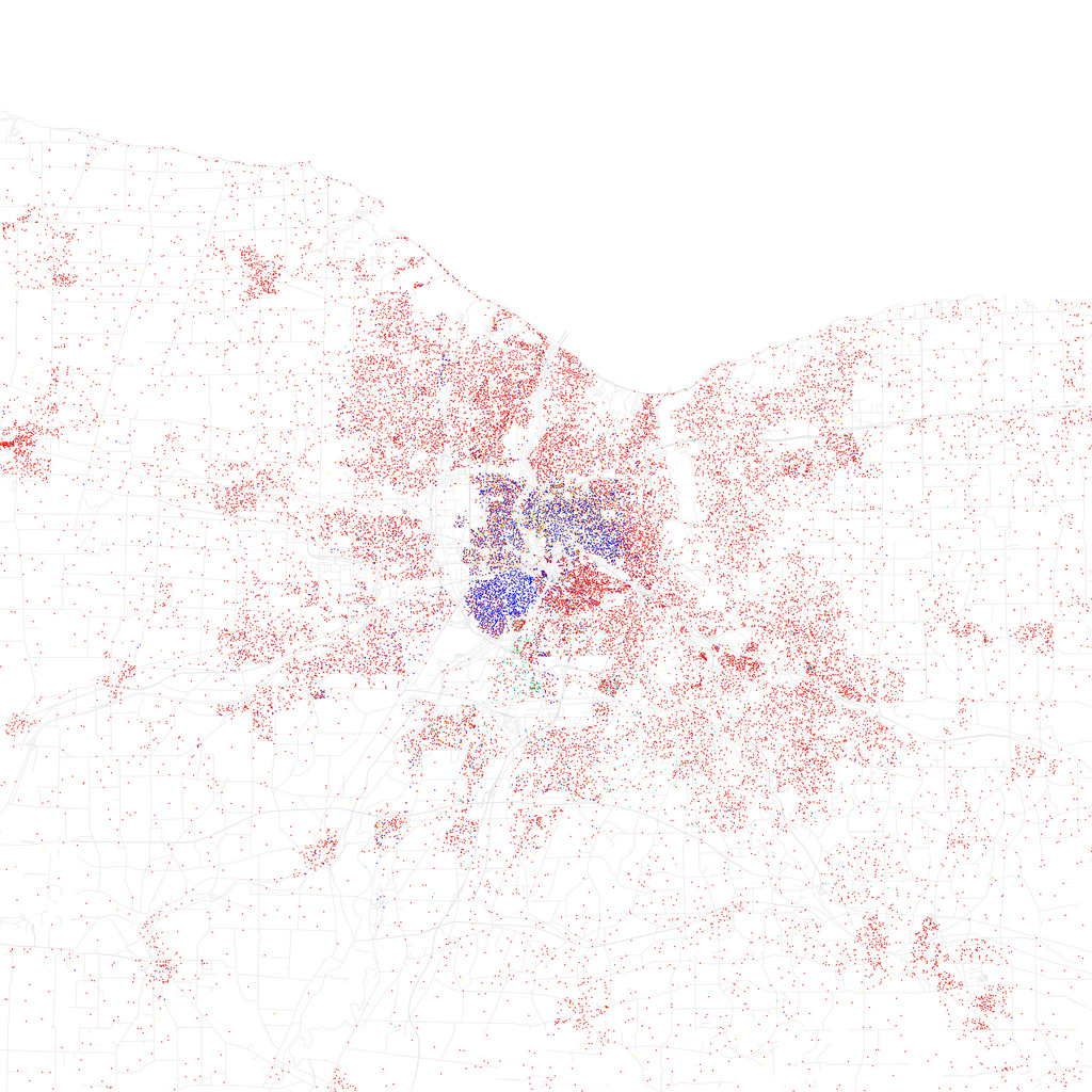 This is a map of racial and ethnic populations (and divisions) in Rochester. It was created by Eric Fischer using 2010 Census data. Inspired by Bill Rankin's 2009 map of Chicago. [FLICKr: Eric Fischer]