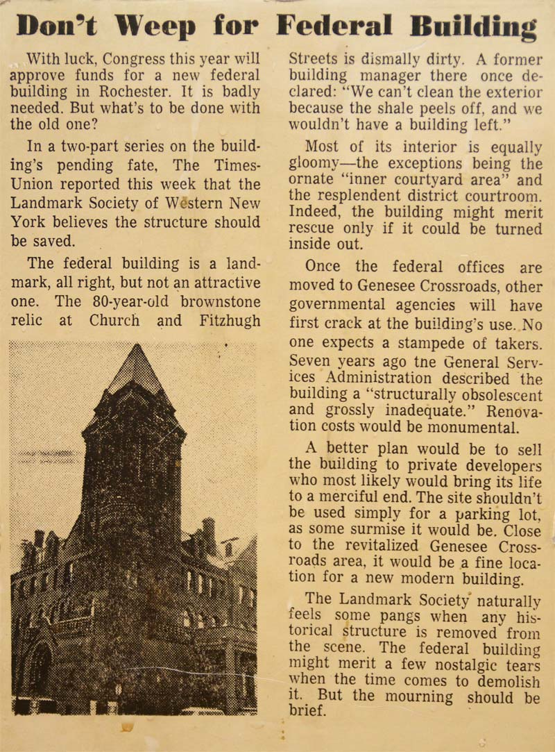 'Don't Weep for Federal Building' -Editorial, Rochester Times-Union, 8/28/1969 [PHOTO: Rick U.]