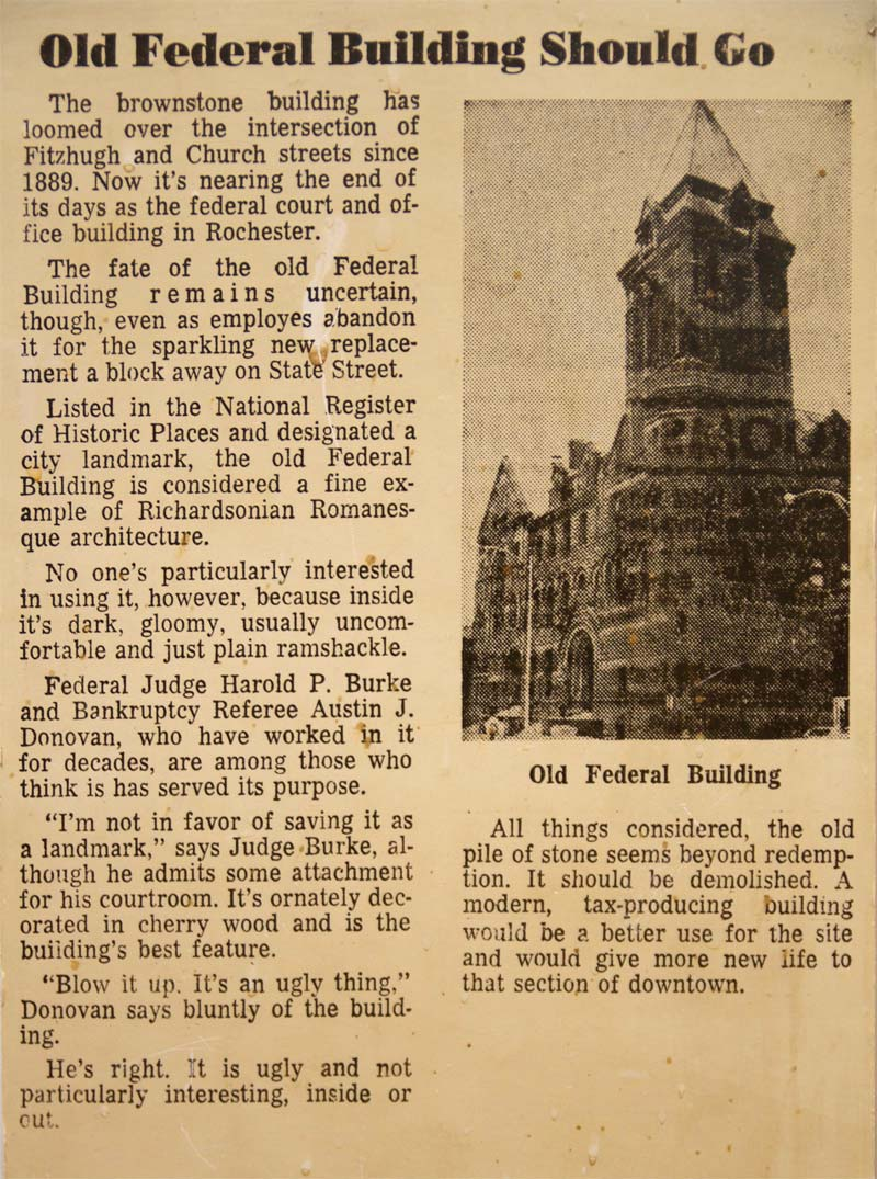 'Old Federal Building Should Go' -Editorial, Rochester Times-Union, 2/2/1973 [PHOTO: Rick U.]