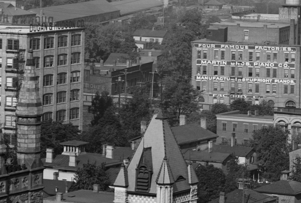 There's Buckingham Commons all the way to the left of the photograph. Looks like it was Dugan & Hudson Co. – a shoe factory.